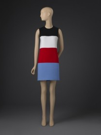 Ellsworth Kelly Reinterpretation of a Woman's Dress designed in 1952; 2013. Black, white, red and French blue cotton/nylon/spandex double weave. Center Front Length: 32 1/2 inches (82.6 cm) Center Back Length: 35 inches (88.9 cm) Size: 4. Gift of the artist, 2015. 2015-5-1. Object Rights Type: Licensed with Restrictions. Copyright: © Ellsworth Kelly, courtesy Matthew Marks Gallery