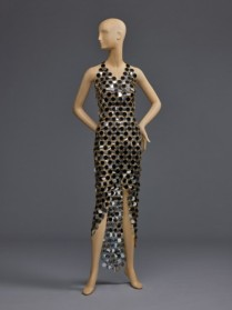 Woman's Dress Silver and Black Dress. Designer: Designed by Paco Rabanne. 1966 Collection. Made in Paris, France. Rhodoid plastic and metal. Center Front Length: 36 inches (91.4 cm) Center Back Length: 55 inches (139.7 cm). Gift of Rubye Graham, 1969