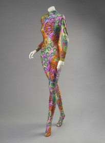 Designed by Christian Lacroix Woman's Catsuit Fall/Winter 1990 Multicolored printed synthetic knit Length: 54 1/2 inches (138.4 cm) Gift of Martin Field, 2014.