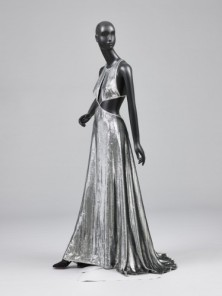 "Woman's ""Mercury"" Evening Dress ""Mercury"" Evening Dress Designed by Geoffrey Beene. Lamé velvet of metallic pile and acrylic twill ground. Gift of Geoffrey Beene, 1997"